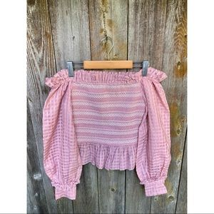 MISS SIXTY off shoulder shirred ruffle pink blouse